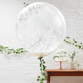 Ballons XXL confettis blancs