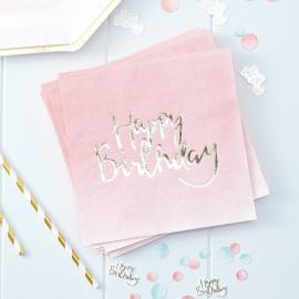 Serviettes dégradé rose et or happy birthday