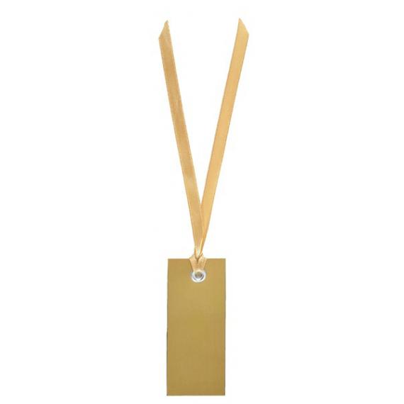 Marque place étiquette dorée et ruban satin - Lot de 12