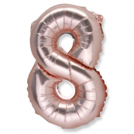 Ballon chiffre 8 or rose