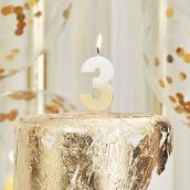 Bougie anniversaire chiffre 3 or et blanche