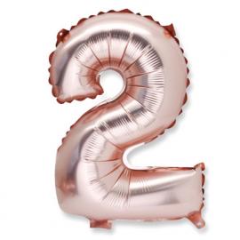 Ballon chiffre 2 or rose
