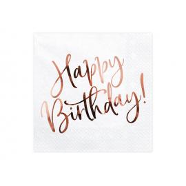 Serviettes blanches et or rose happy birthday
